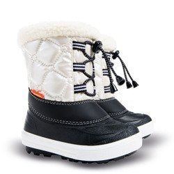 12b37eee98fee Białe ocieplane śniegowce dziecięce Furry 2 NC (20-29) ze ściągaczem